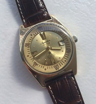 Rare Montre Automatic,  PLONGÉE AQUASTAR GENEVE 200M. DIVER Watch. 600 FEET.