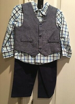 Brand New Infant Boys George 3-Piece Vest Shirt Pants Suit Set 24month