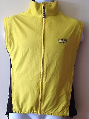 Gore waterproof, windstopper cycling gilet, vest. Thermal, Hi Viz Yellow. Size S