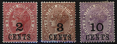 British Honduras 1888-89 Overprints , Sc 28 29 30 , Mint Hinged