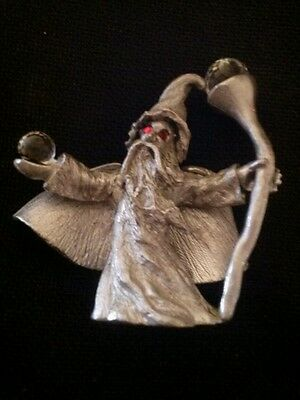 *RARE* Vintage Pewter Spoontiques Red Eyed Wizard w Crystal Balls 1985 CMR590
