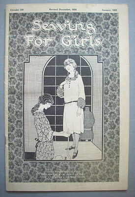 1920's Wisconsin Extension Service Sewing for Girls booklet