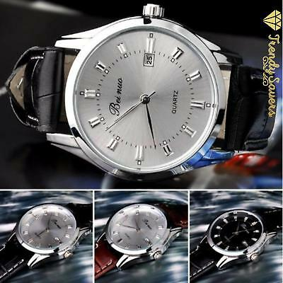 Men's Leather Band Stainless Calendar Date Steel Quartz  Analog Wrist  Watch