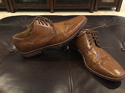 Cole Haan men's leather British tan wing tip shoes, size 10M, good condition