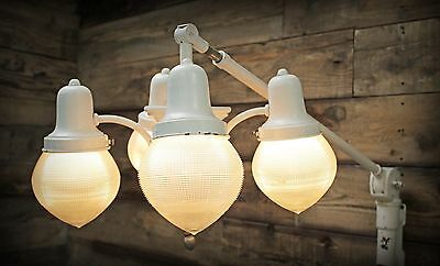 Vintage Industrial Bosworth White Holophane Acorn Shade Swing Arm Dental Lamp