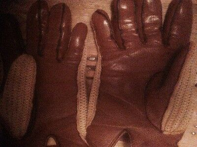 Vintage String Back Driving / rally gloves size large
