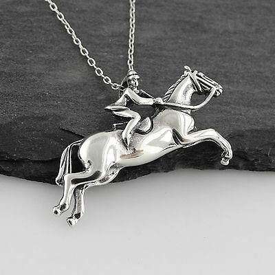Jumping Horse with Rider Necklace  925 Sterling Silver Equestrian Racing Pendant