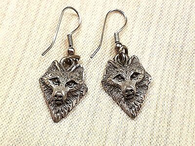 Signed Pewter Dimensional Laser Cut Wolf Earrings