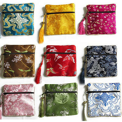 10X MixColors Chinese Zipper Coin Tassel Silk Square Jewelry Bag Pouches4.5inchT