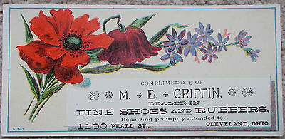 Vintage Trade Card, M.E. Griffin, Dealer in Fine Shoe's & Rubbers, Cleveland, OH