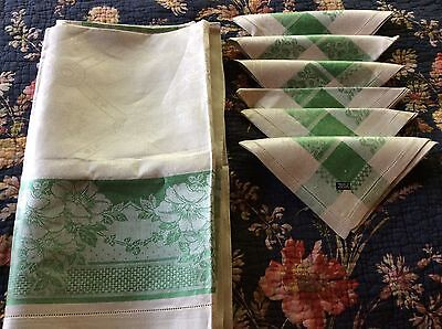 Gorgeous Antique Green/Natural Tablecloth 12 Napkin Made In Czechoslovakia Label
