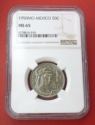 1950MO MEXICO 50 CENTAVOS SILVER 50c COIN NGC Graded MS 65 KM# 449 TOP POP of 2