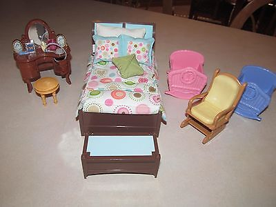 Loving Family Dollhouse Parents Bedroom Bed Twin Baby Furniture Cradle Lot