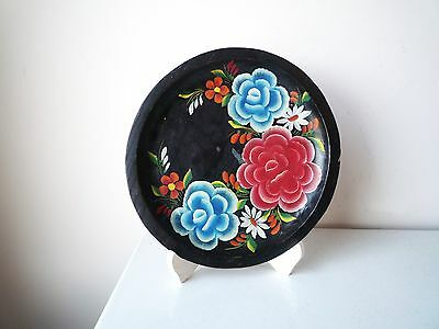 Vintage Hand Painted Wood Folk Art Floral Mexican Batea Tole Tray Plate Bowl