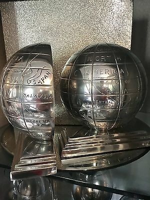 Aluminium Chrome Finish Globe/Atlas Bookends By Libra - New