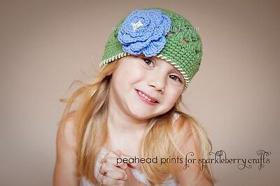 Beanie Hat Crocheted RTS in 2-4 and 5-Preteen sizes. Open Weave Beanie Girls