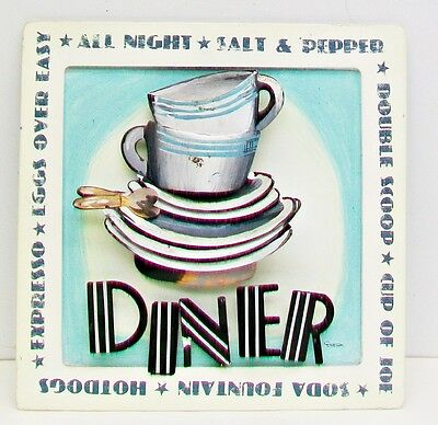 Vintage ALL NIGHT DINER Tin Tole 3D WALL ART Sign DURHAM Soda Fountain HOT DOGS