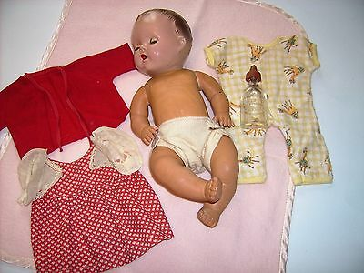 """1940's Sunbabe Sun Rubber baby doll  Molded head 11""""  antique vintage Patended"""