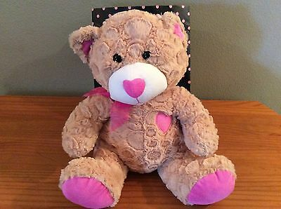Plush Tan Bear with Hearts EUC Excellent Used Cond. Soft Stuff Animal Plush Toy