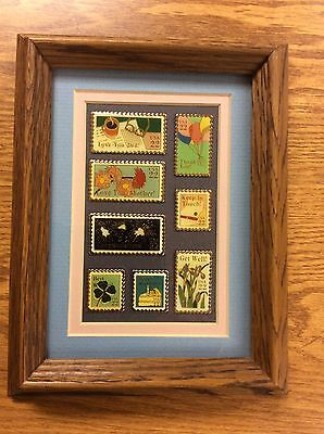 Usps Postal Postage Stamp Pins Matted In Wood Frame~Eight Total