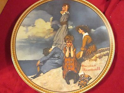 Bradford Exchange Norman Rockwell Waiting On The Shore Collector Plate Coa New