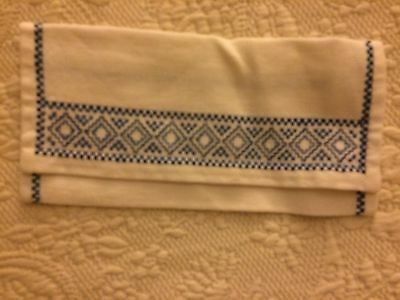Swedish Linens Antique Napkin Cover Blue Embroidery