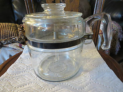 Vintage 4-6 Cup Clear Glass Pyrex Coffee Pot 7756-B