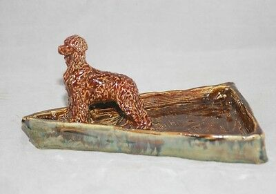 Irish Water Spaniel one of a kind fired clay trinket dish