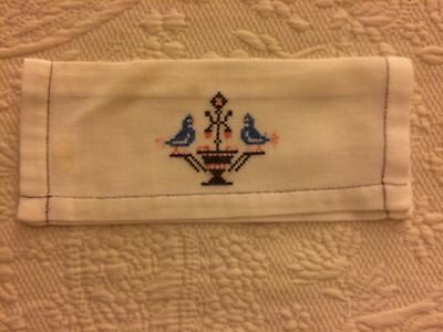 Swedish Linens Antique Napkin Storage Envelope Cover Embroidered Quality Work