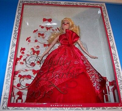 "2012 Holiday Barbie w/Bow & Kissed w/Silvery Glidder Collector Ed 12"" Doll NRFB"