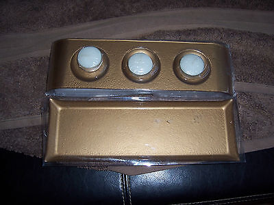 Solid Gold Tone Tray's x 2 with 3 Tea Light Candles - Brand New