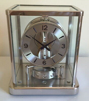 Mint All Nickel Plated! Jaeger LeCoultre Atmos 540 Elysee Mantel Clock