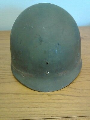 Vtg, WWII US Army Helmet WESTINGHOUSE 3 Liner front seam swivel Bale