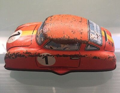 Vintage Orange Sports Car Number 1 Wind Up Tin Toy Made In West Germany
