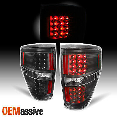 Black 2009-2014 Ford F150 F-150 LED Tail Lights Lamps Pair 2010 2011 2012 2013