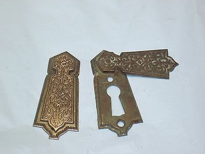 Antique Keyhole Door Lock Escutcheon Plate Key Cover old ferns brass Victorian