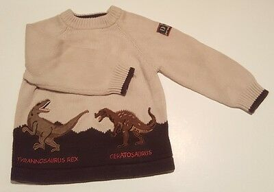 Newton Trading Company Boys Size 4 Sweater Top. Brown and Tan with Dinosaurs