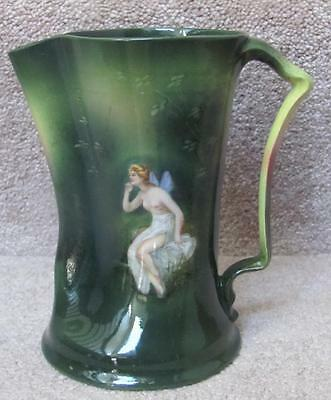 Royal Bayreuth Semi Nude Draped Nymph / Fairy Green Pitcher