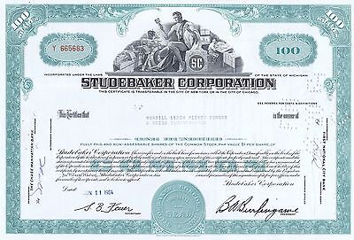 Studebaker Corporation Stock Certificate- 1964 Lowest Price on Ebay!