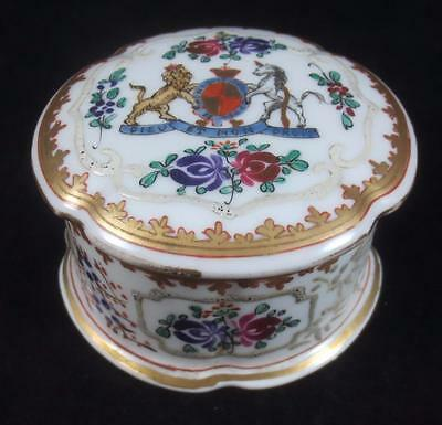 19th c EDME SAMSON France HAND PAINTED ARMORIAL TRINKET BOX Chinese Export Style