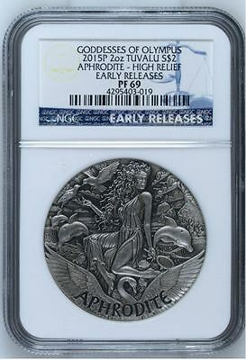 Goddesses Of Olympus - Aphrodite. Ngc Pf69 Early Releases. 2015 2 Oz Pure Silver