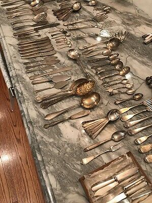 Mixed lot Antique Silverplate Forks, Spoons, Knives, Serving Pcs, approx 100 pcs