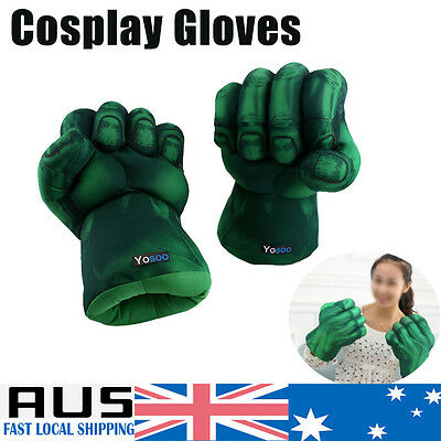 2X Incredible Hulk Gloves Smash Hands Plush Punching Boxing Fist Cosplay Perform