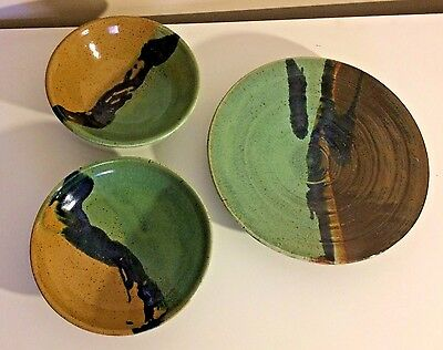 RARE POTTERY 3 Pc Lot Bowl Plate Set Blue Brown Green Glaze SIGNED Handmade GIFT