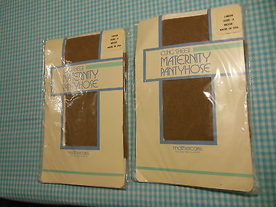 Maternity Pantyhose 2 PAIR by MOTHERCARE Size 3 BEIGE NEW CLING SHEER