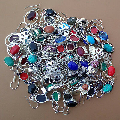 10 Pcs All Mix Gemstone Wholesale Lot 925 Sterling Silver Plated Earrings