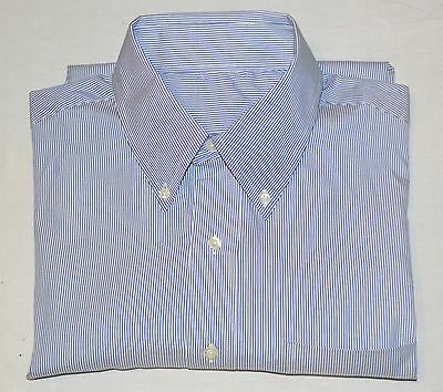 New Brooks Brothers Men's 16 - 34 Blue & White Striped Button Collar Dress Shirt