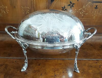 Antique Victorian Silver Plate Dome Roll Top  Chased Etched Design Chafing Dish