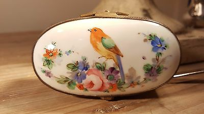 Beautiful little 1800s hand painted floral/bird French or English porcelain box