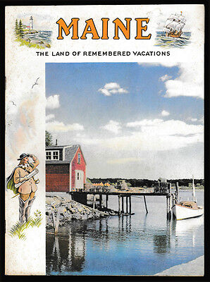 vtg 1950s MAINE The Land of Remembered Vacations -- Promo Travel Brochure